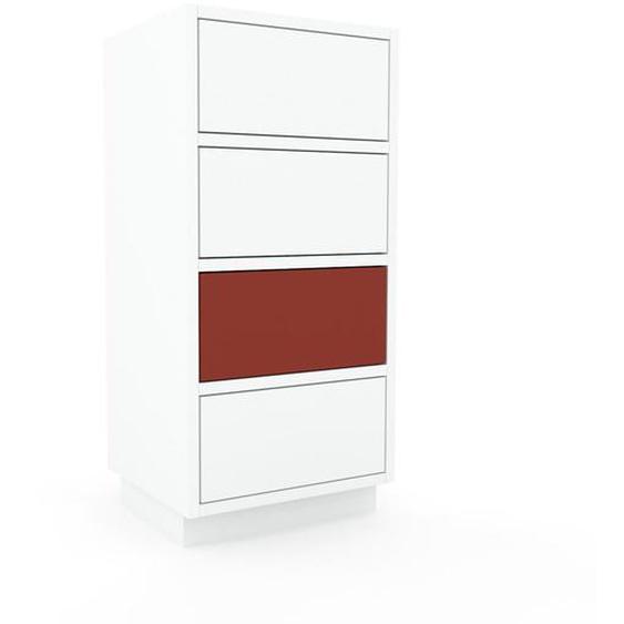 Nachtschrank Weiß - Eleganter Nachtschrank: Schubladen in Weiß - Hochwertige Materialien - 41 x 85 x 35 cm, konfigurierbar