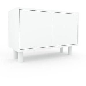 Nachtschrank Weiß - Eleganter Nachtschrank: Türen in Weiß - Hochwertige Materialien - 77 x 53 x 35 cm, konfigurierbar
