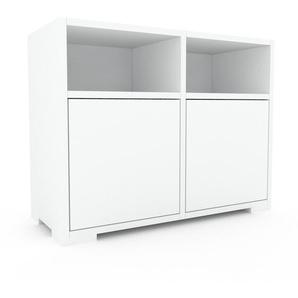 Nachtschrank Weiß - Eleganter Nachtschrank: Türen in Weiß - Hochwertige Materialien - 79 x 62 x 35 cm, konfigurierbar