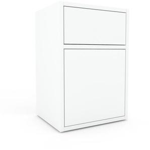Nachtschrank Weiß - Nachtschrank: Schubladen in Weiß & Türen in Weiß - Hochwertige Materialien - 41 x 61 x 35 cm, konfigurierbar