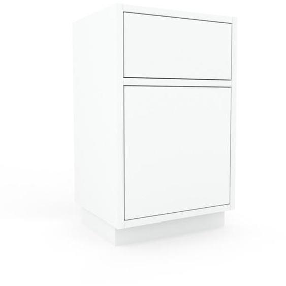 Nachtschrank Weiß - Nachtschrank: Schubladen in Weiß & Türen in Weiß - Hochwertige Materialien - 41 x 66 x 35 cm, konfigurierbar