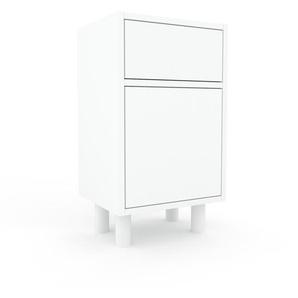 Nachtschrank Weiß - Nachtschrank: Schubladen in Weiß & Türen in Weiß - Hochwertige Materialien - 41 x 72 x 35 cm, konfigurierbar