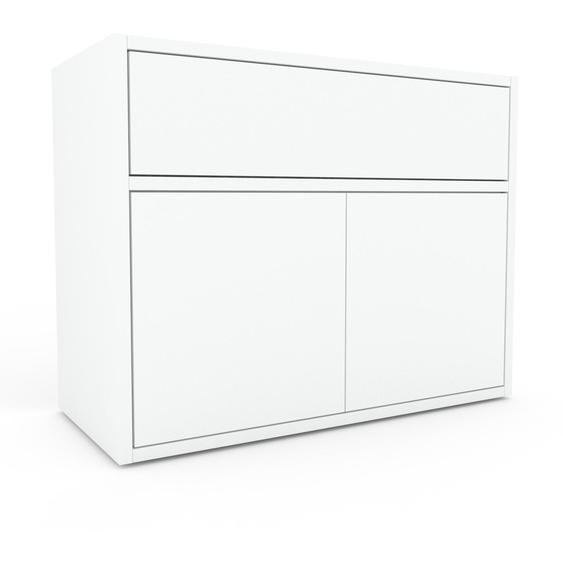Nachtschrank Weiß - Nachtschrank: Schubladen in Weiß & Türen in Weiß - Hochwertige Materialien - 77 x 61 x 35 cm, konfigurierbar