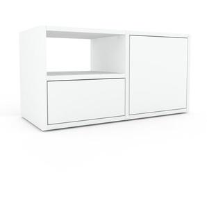 Nachtschrank Weiß - Nachtschrank: Schubladen in Weiß & Türen in Weiß - Hochwertige Materialien - 79 x 41 x 35 cm, konfigurierbar