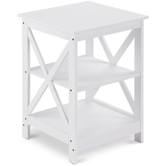 Nachttisch 3 Ablagen Beistelltisch Standregal Allzweckregal Weiß 43 x 40 x 60 cm