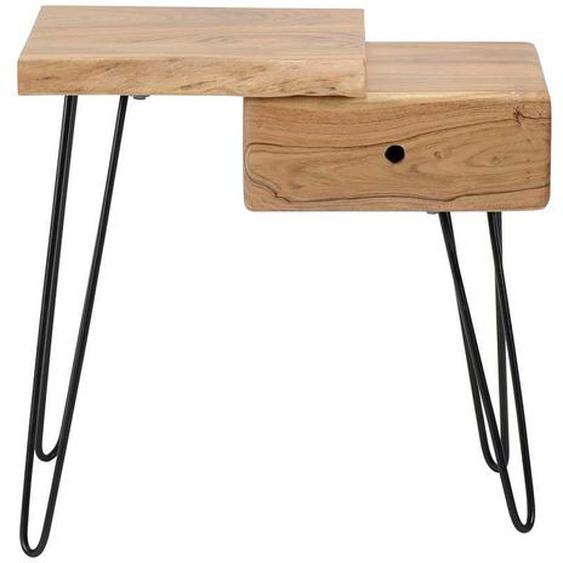 Nachttisch aus Akazie Massivholz und Metall Baumkante