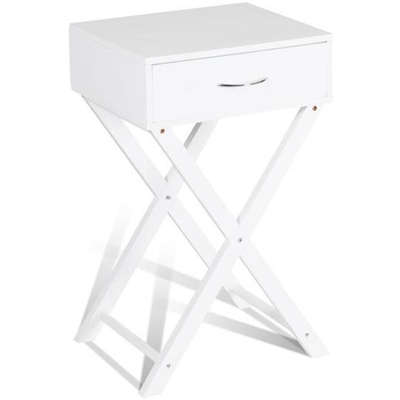 Nachttisch Dreieckige Struktur Beistelltisch Telefontisch mit 1 Schublade Weiß 40 x 33 x 66 cm