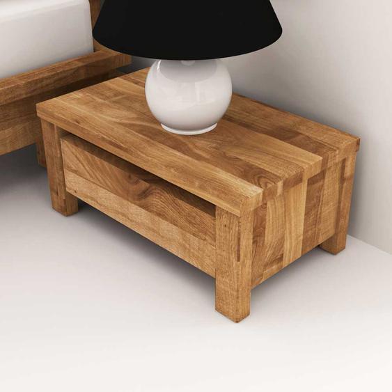 Nachttischkommode aus Wildeiche Massivholz Schubladen