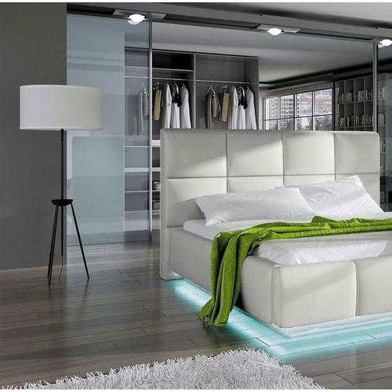 Naimi Polsterbett Weiß 180x200 mit LED