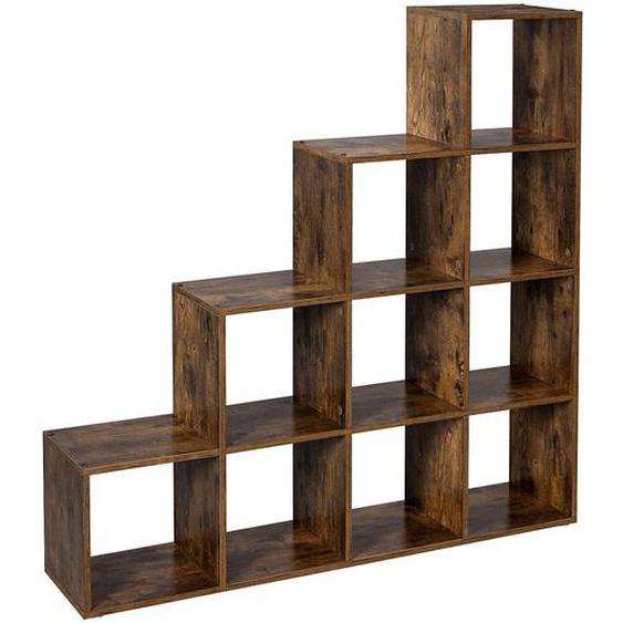 Nancys Bücherregal - 10 Fächer - Aktenschrank - Schrank - Schränke - Holz - Braun - Industrie - 129,5 x 30,5 cm