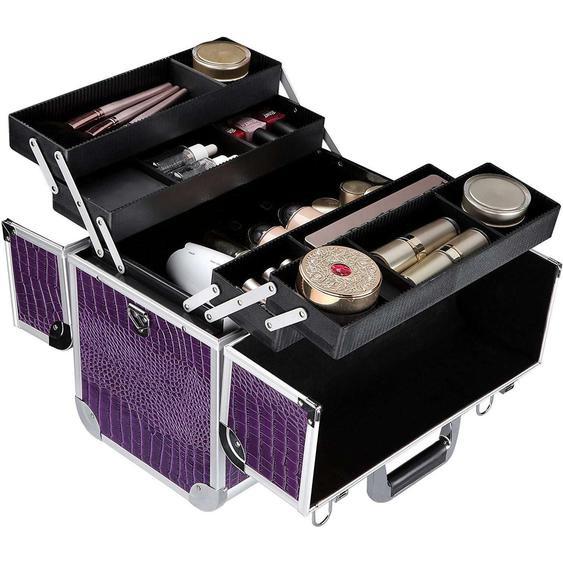 Nancys Make-up-Koffer - Ausklappbarer Make-up-Koffer mit 5 Vorratsbehältern - Make-up-Koffer mit Schloss