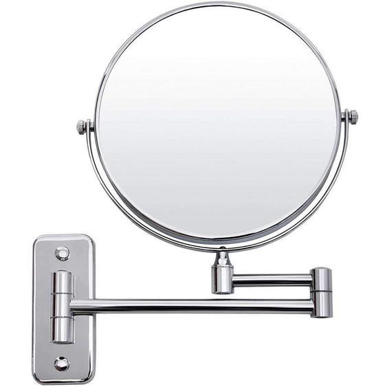 Nancys runder verstellbarer Spiegel - Rasierspiegel - Edelstahl - doppelseitig und drehbar - Schminkspiegel