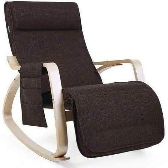 Nancys Schaukelstuhl - Entspannungsstuhl - 5-fach verstellbare Wadenstütze - Sessel - Braun - 67 x 115 x 91 cm