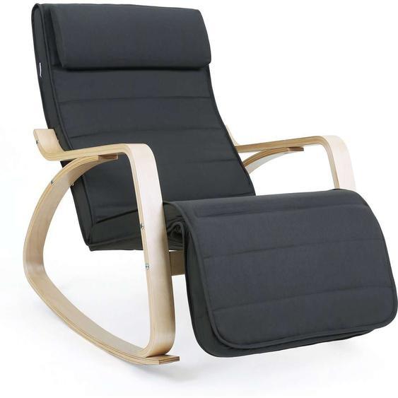 Nancys Schaukelstuhl mit Fußstütze - verstellbare Liege - Entspannungsstuhl - Leinenstoff - grau