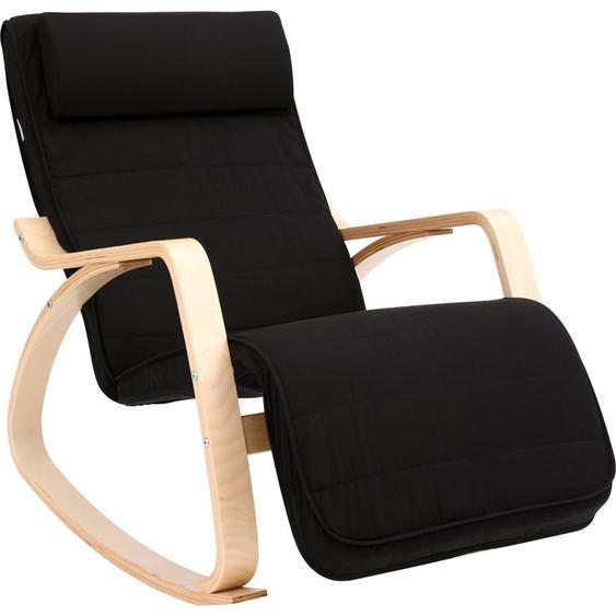Nancys Schaukelstuhl mit Fußstütze - verstellbare Liege - Entspannungsstuhl - Leinenstoff - Schwarz