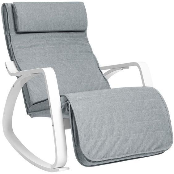 Nancys Schaukelstuhl mit Fußstütze - verstellbare Liege - Entspannungsstuhl - Sessel - Birke - 150 kg beladen - grau