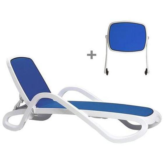 Nardi Alfa Gartenliege + Sonnendach Kunststoff/Textilene Blau