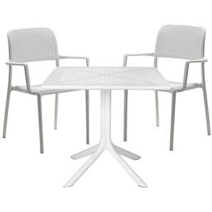 Nardi Bora Stapelsessel Diningset 3-teilig Kunststoff Weiß