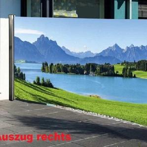 NATIV Garten Seitenmarkise Sichtschutz mit Fotomotiv, 160 cm hoch, 300 cm lang