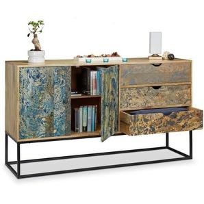 Native Home Sideboard Marmor-Optik, Kommode Mango-Holz, Highboard 3 Schubladen, Anrichte massiv, HBT ca 90 x 160 x 45 cm