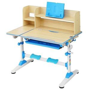 Natsen Kinderschreibtisch, Schülerschreibtisch mit Bücherregal, Schublade und Lesenrahmen, höhenverstellbar neigbar, Schreibtisch für Kinder (Blau)