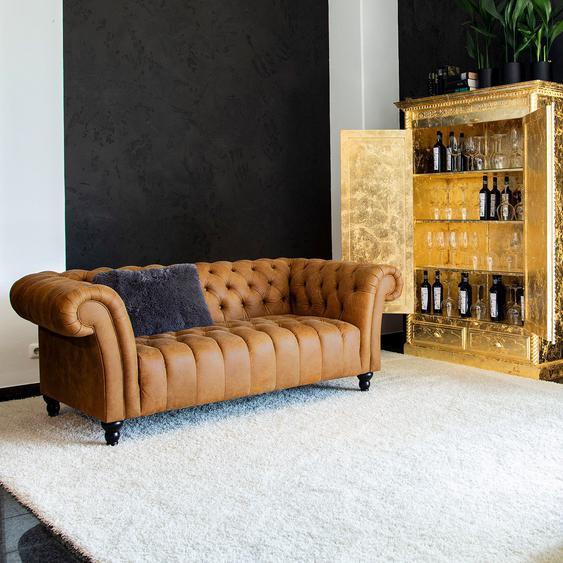 Naturoo Sofa Boyce 3-Sitzer Cognac Echtleder 205x74x101 cm