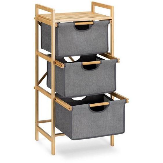 Navaris Badregal, Regal aus Bambus mit Körben - 96x44x33cm Bambusregal Wäschekorb Wäschesammler Sortierer Wäschekörbe - 3 Fächer für Wäsche