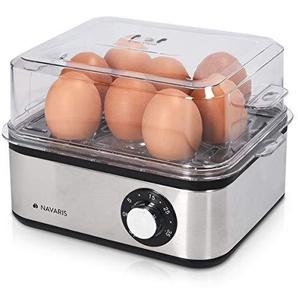 Navaris Edelstahl Eierkocher mit Timer - für 1-8 Eier - 21x17x15cm - mit Eierstecher und Messbecher - auch als Pochierer und Dampfgarer nutzbar