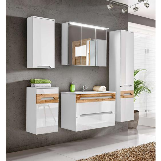 Neboda Badezimmerset Weiß | Weiß Hochglanz