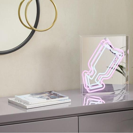 Neon Arrow Tischlampe, Weiss und Rosa