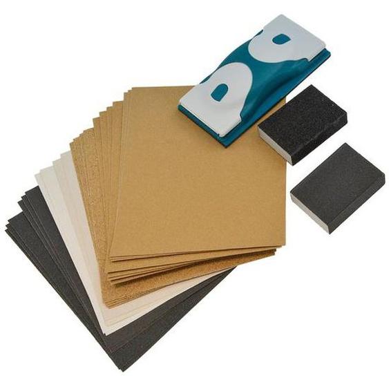 Nespoli Handschleifer-Set, 24-teilig, Handschleifer + Papier unterschiedlicher Körnung