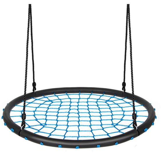 Nestschaukel Ø100cm Rundschaukel Hängeschaukel mit verstellbarem Seil Baumschaukel Blau