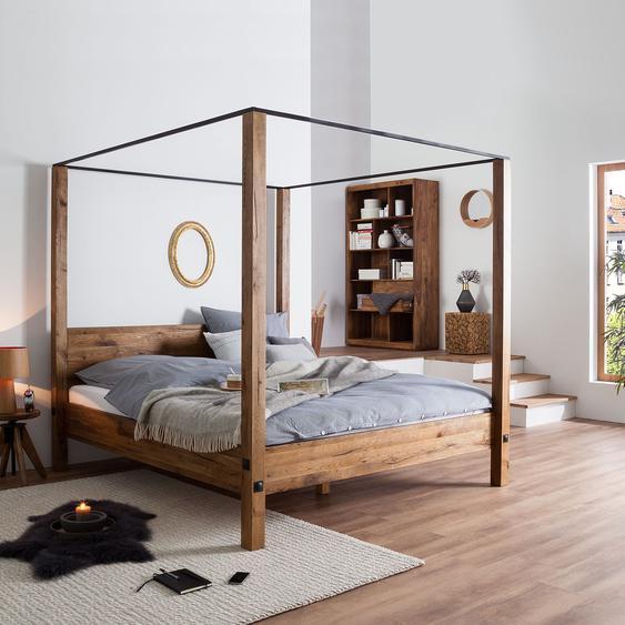 Neue Modular Himmelbett Porto-Alegre 140x200 cm Massivholz Sumpfeiche Braun