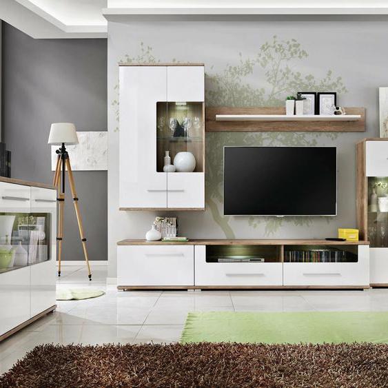 Nidda Wohnzimmerset Monument Eiche  Weiß