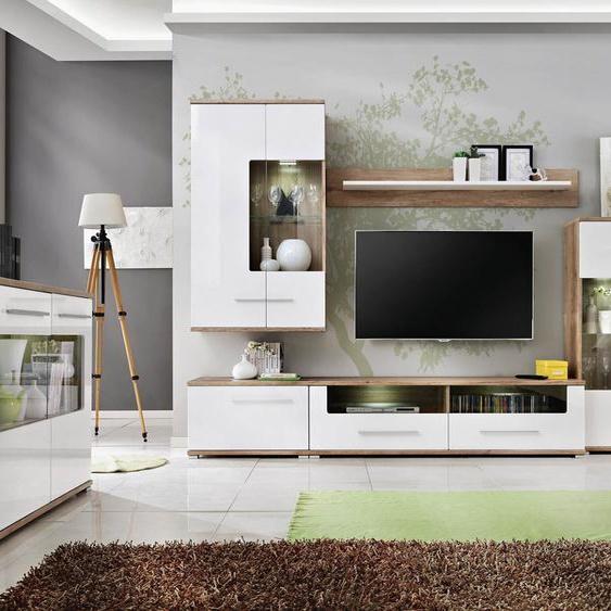 Nidda Wohnzimmerset Monument Eiche| Weiß