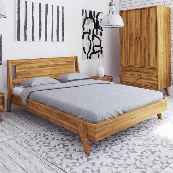 Niedriges Bett aus Wildeiche Massivholz Retro Design