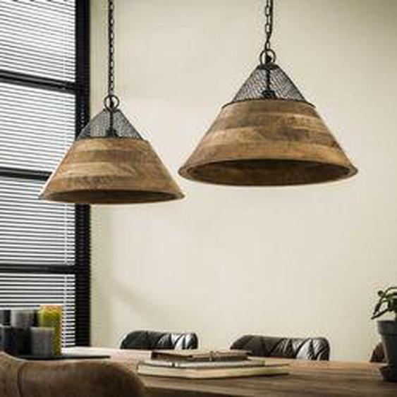 Nieuwebrug Pendelleuchte Holz dunkel, 2-flammig - Vintage/Industrial/Boho Style - Innenbereich - versandfertig innerhalb von 4-8 Werktagen