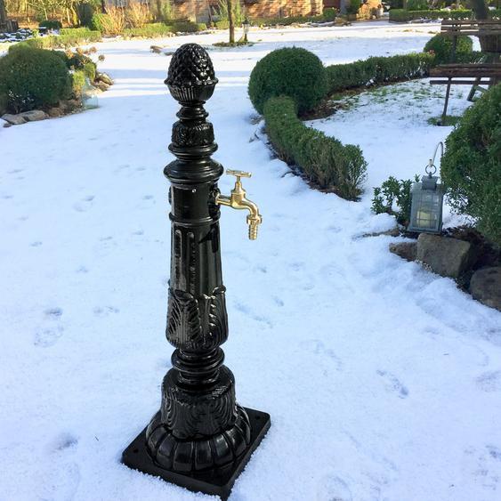 Nostalgie Zapfstelle, Gartenbrunnen mit Wasserhahn, Gartenbrunnen Säulenbrunnen