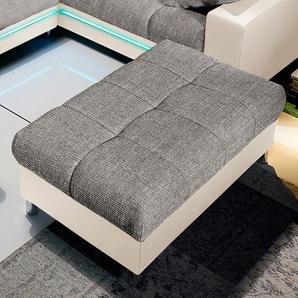 Nova Via Hockerbank 0, Microfaser PRIMABELLE® / Struktur, Mit Kaltschaum, Bankhocker beige Polsterhocker Hocker Nachhaltige Möbel