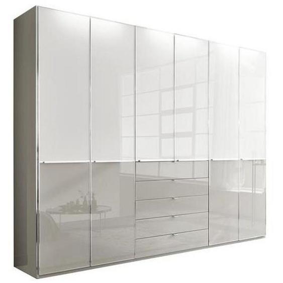 Novel Drehtürenschrank 6-türig Weiß , Holzwerkstoff , 5 Schubladen , 300x236x60 cm