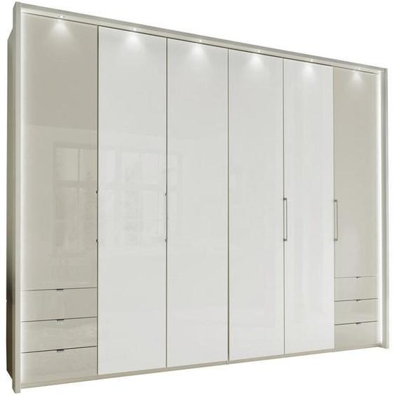 Novel Falttürenschrank 6 -türig Weiß , Holzwerkstoff , 8 Fächer , 300x236x58 cm