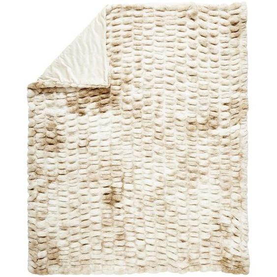 Novel Felldecke 150/200 cm Braun, Beige , Natur, Beige , Textil , Uni , 150 cm