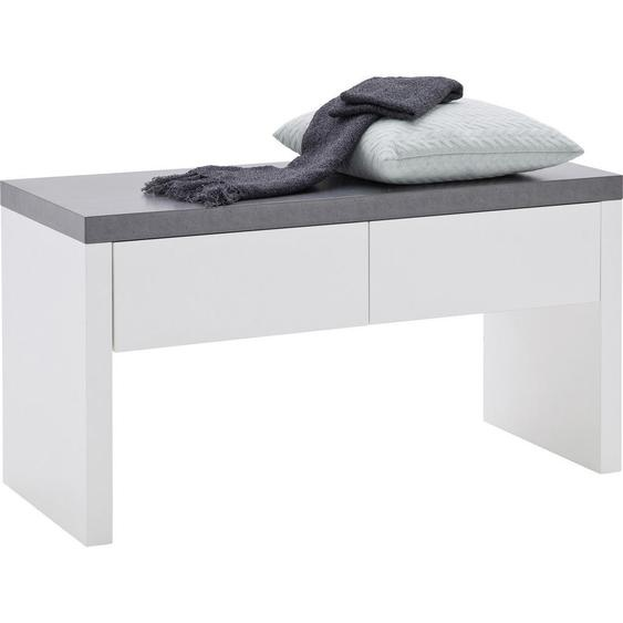 Novel Garderobenbank Weiß , Holzwerkstoff , 2 Schubladen , 91x48x38 cm