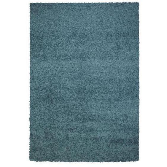 Novel Hochflorteppich 200/290 cm gewebt Blau , Textil , Uni , 200x290 cm