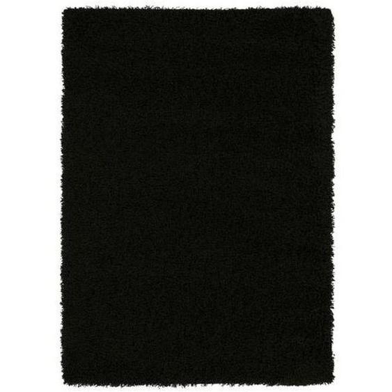 Novel Hochflorteppich 240/290 cm gewebt Schwarz , Textil , Uni , 240x290 cm