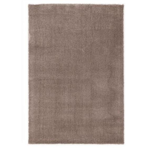 Novel Hochflorteppich 80/150 cm gewebt Braun , Textil , Uni , 80x150 cm