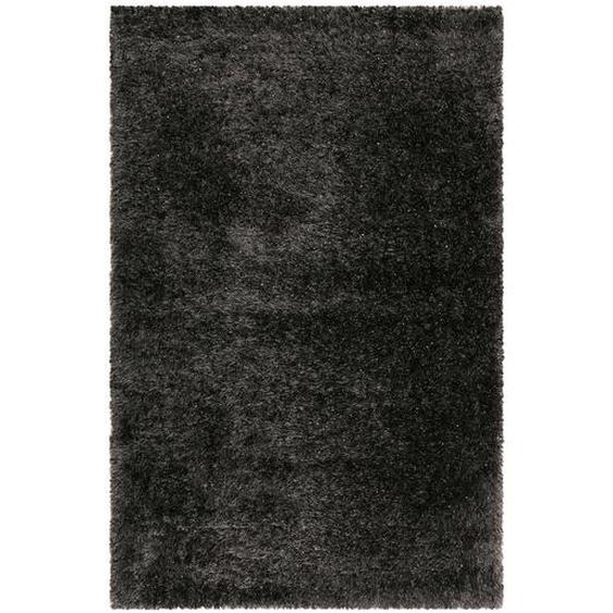 Novel Hochflorteppich 80/150 cm gewebt Schwarz , Textil , Uni , 80x150 cm