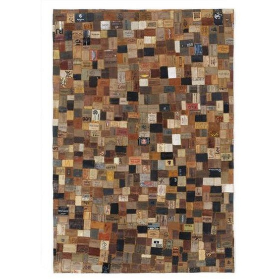 Novel Lederteppich 140/200 cm Braun , Natur, Grau , Textil , Patchwork , 140 cm