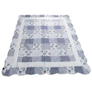 Novel Tagesdecke , Blau , Textil , Blume , 140 cm , Schlaftextilien, Bettwäsche, Tagesdecken