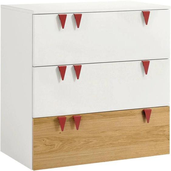 now by hülsta Kommode minimo, mit roten Griffen 90x53x95 cm weiß Kinder Kinderschränke Kindermöbel Sideboards